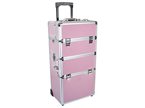 Beauty Trolley INFINITY Aluminium pink - Kosmetik-Koffer - Friseur-Koffer - Schmink-Koffer - Nageldesign-Koffer