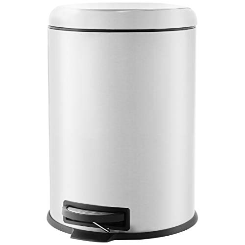 AmazonBasics Poubelle ronde à pédale, acier inoxydable, 20L