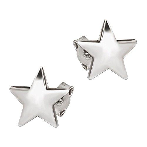 Clever Schmuck Silberne Damen Ohrstecker Stern 9 x 9 mm schlicht glänzend leicht gewölbt STERLING SILBER 925