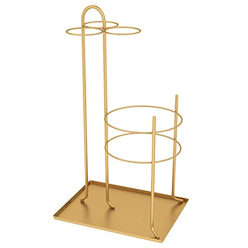 HY@ Schirmständer - Modernes Metall-Schirmständer-Halter-Lagerregal mit Auffangwannensockel, für Home Decor-Eingangsdekor, 4 Farben optional,Gold