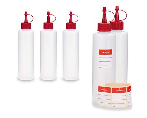 Octopus 5 x 250 ml HDPE Plastikflaschen, z.B. für E-Liquids (E-Zigaretten), Liquidflaschen BZW. Kunststoffflaschen mit roten Spritzverschlüssen/Tropfverschlüssen, inkl. Beschriftungsetiketten -