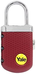 Yale Gem Travel Luggage 3 Digit Combination Padlock With Steel Shackle - YP3/31/123/1 - Red