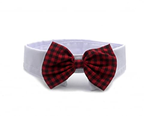 Namsan Dogs Cat Puppy Pets Bow Tie Neck Tie Collar England Style 6 Colors -Deep Red