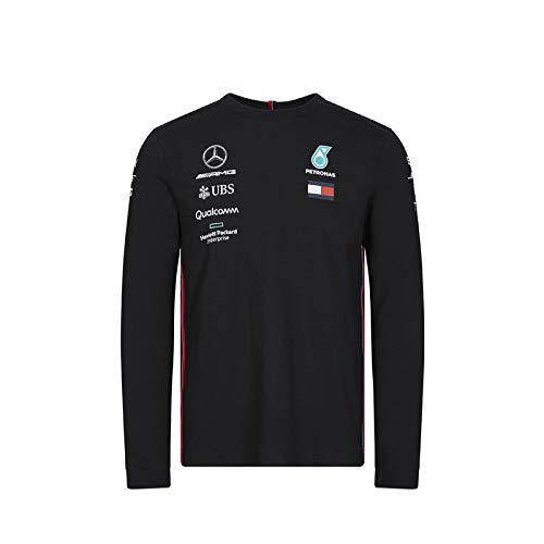 F1 Langarm (Mercedes-AMG Petronas Motorsport Official Formula One Merchandise | Männer | Offizielle 2019 F1TM | Team Langarm Driver T-Shirt | Schwarz | Baumwolle und Elestan | Größe: XS)