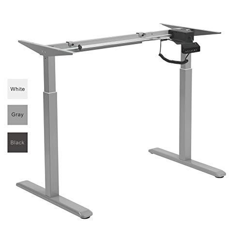 ALLDREI elektrisch stufenlos höhenverstellbarer Schreibtisch Mit Speicher-Steuerung und Erinnerungsfunktion. (Grau)