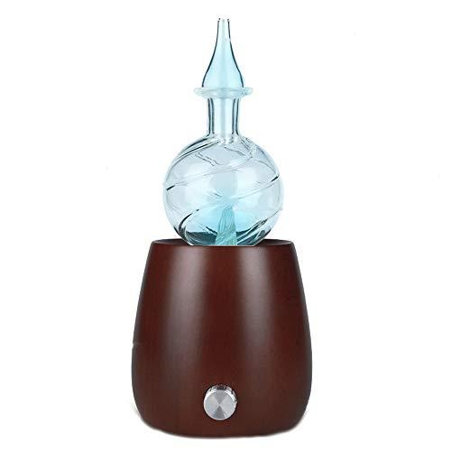 Glas Diffusor für ätherisches Öl Nebulizer Holzmaserung Ätherisches Öl Diffusor, Glas Ultraschall Diffusor, Wasserlos, keine Hitze, kein Wasser, für Hause Büro SPA und Schlafzimmer,Brown -