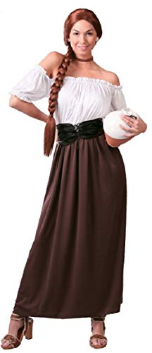 Fancy Me Damen Mittelalter Gastwirt Landlady Oktoberfest Bier Maiden Dienst Dirndel Kostüm Kleid Outfit 14-18 - Braun, UK 14-18 (Bier Maiden Outfit)