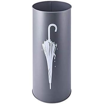 Relaxdays Porte-parapluies rond avec r/écipient collecteur deau H x l x P 49,5 x 22,5 x 22,5 cm support pour parapluies en m/étal noir