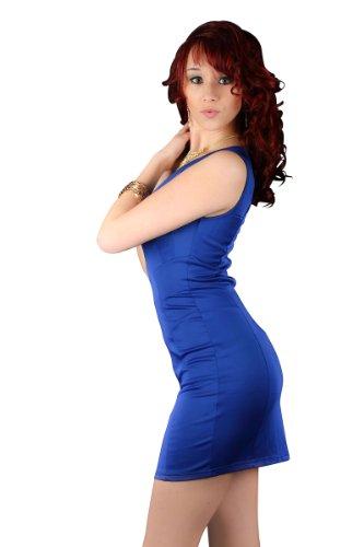 5479 Robe courte en matière stretch robe disponible en 5 couleurs Bleu - Bleu royal