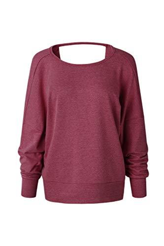 Jumojufol Frauen Kreuz Rückenfrei Casual Sweatshirt Open Back Pullover Outwear Tops Wein S - Open-back-pullover-kleid