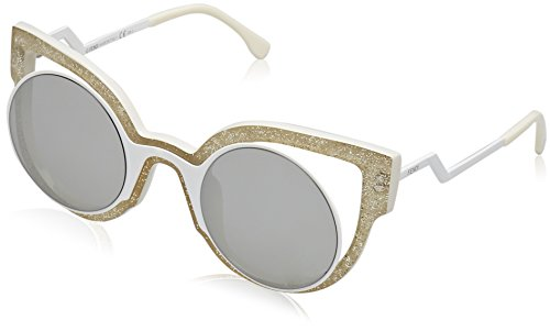 Fendi Damen FF 0137/S SS NU6 Sonnenbrille, Weiß (Glttwht Mtwh Grey Speckled Silver), 49