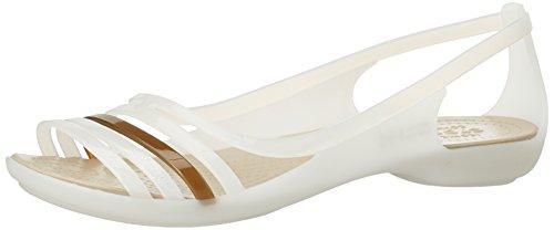 Crocs Isabellafltsndl, Ballerine Donna Bianco (Oyster/Walnut)