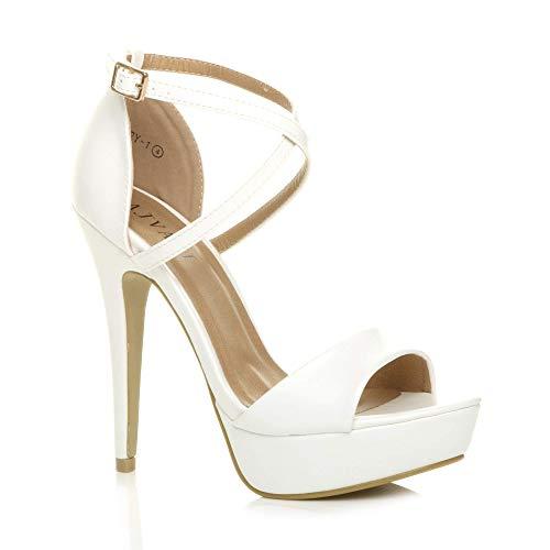 Donna tacco alto fibbia cinturini incrociati scarpe punta aperta sandali numero 4 37