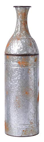 Vintiquewise QI003484.M Bodenvase aus verzinktem Metall, rustikaler Landhausstil, 84 cm, Grau