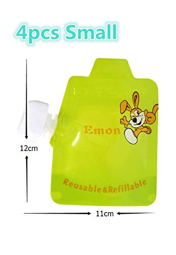 4pcs&8pcs/lot Reusable Baby Food Pouches BPA-Free Easy Clean Food Storage Bags Double Zipper Baby Organizer Pouch Insulation Bag : 4 Small