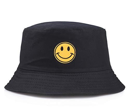 JIACHIHH Fischerhut,Lässige Stickerei Gelb Smiley Wanne Hut Frauen Männer Mode Einfach Outdoor Visor Schwarz Fischer Hut