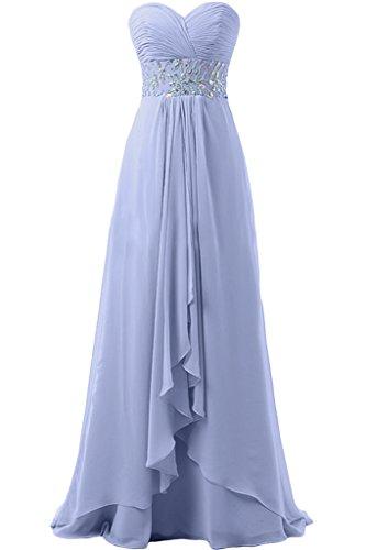 Missdressy Liebling Ein-Schulter mit Blumen Abendkleider Kurz Chiffon Cocktailkleider Brautjungfernkleider Partykleider Himmelblau