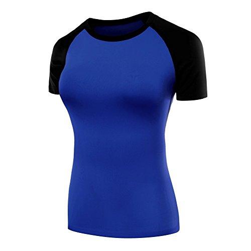 ESHOO Femme Tops Séchage Rapide T-shirt Manches courtes sport Gym Fitness Yoga Course