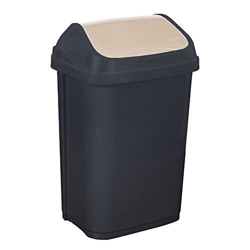 OKT 10308826000, Secchio per la spazzatura con coperchio basculante, 50 L, colore: Grigio/Crema