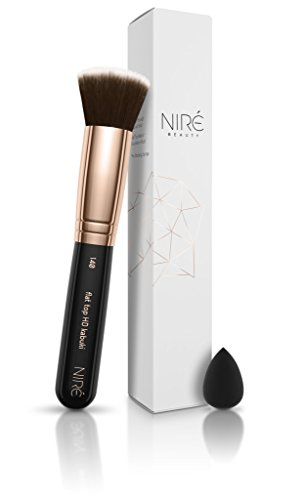 Niré Beauty Kabuki Brush for Foundation: Flat Top HD Kabuki Brush for Liquid, Cream and Mineral Foundations *** BONUS Mini Beauty Blender for a Full Coverage of the Under-Eye Area