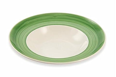 Galileo Casa 2416848Set Teller Pasta, Porzellan, Weiß/Grün, 6Stück (Keramik Pasta Bowl)