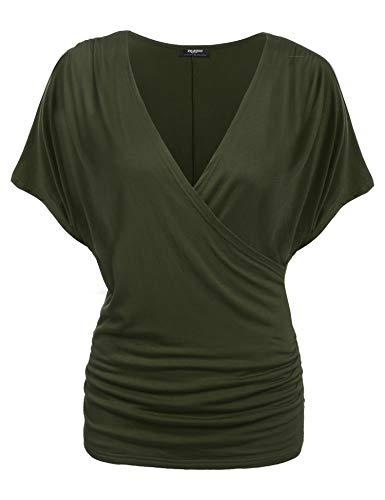 Selbst Grünes T-shirt (Zeagoo Damen V-Ausschnitt T-shirt Kurzarm Batwing Fledermaus Sommer Shirt Tunika Bluse(EU 36(Herstellergröße:S), Olivgrün)