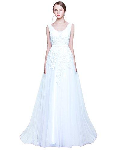 Erosebridal Langes Ballkeider Rueckenfrei Schnuerung Abendkleid Spitze Brautkleid Weiß A DE38