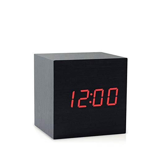 Lybclock orologio da comodino elettronico luminoso muto sveglia per bambini in legno per studenti, 2