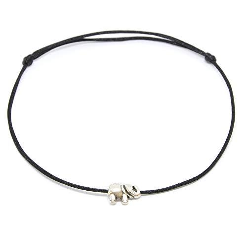 Selfmade Jewelry ® Fußkettchen Elefant Silber auf schwarzem Satinband - Größenverstellbar Fussband mit Elefanten Anhänger in Silber Handmade Fußbändchen