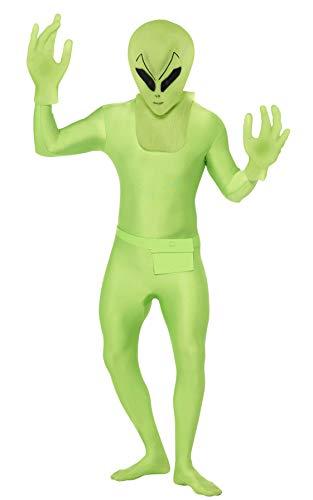 Alienkostüm Kostüm Alien für Herren Ganzkörperanzug Anzug Ganzkörper Grün Halloween Herrenkostüm Halloweenkostüm Gr. 48/50 (M), 52/54 (L), (Ganzkörper Alien Kostüm)