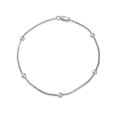 Sterling Silver Ball Snake Chain Ankle Bracelet 9in