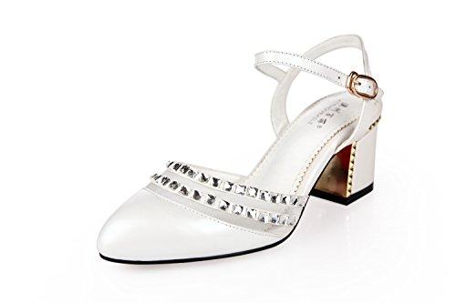 Lgk & fa estate sandali grosso sandali tacco tacchi testa rotonda drill scarpe da donna Hollow Baotou sandali da donna, 37 Pink 39 white