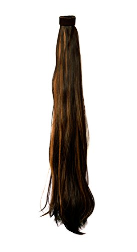 BigWave wrap around Pony Tail natural brown Gold highlight color Hair extension 24 inch