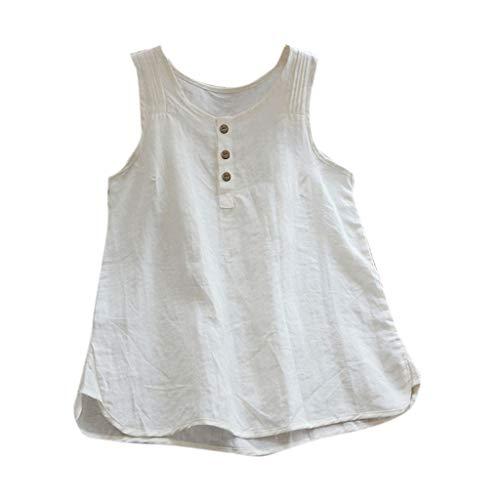 Crewneck Knit Top (Frauen Leinen Plissee Crewneck Button Up Tank Tops Sommer Solide Ärmellose Bequeme Freizeitbluse)