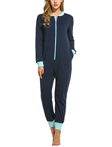 Schlafoverall Jumpsuit Damen Overall Pyjama Onesie Einteiler Lang Strampler Kuschelig Schlafanzug Nachtwäsche Langarmshirt Playsuit mit Reißverschluss, Blau, XXL