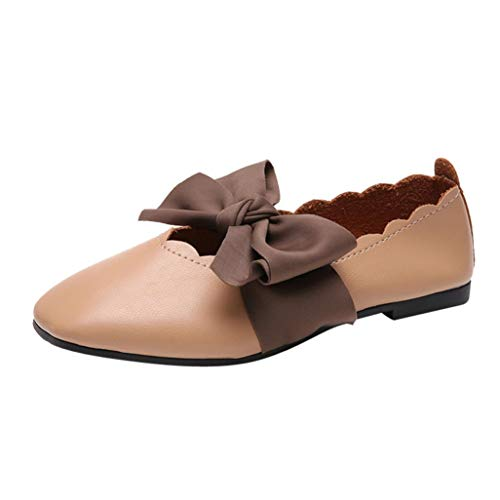 UFACE Damen Frauen Bow spitz Flache Flache Schuhe flach Bowknot Wies Flache Flache Ferse Slip auf Schuhe Einzelne Schuhe(Braun,35EU)