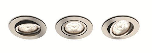 Philips myLiving LED Warmglow Einbauspot Shellbark, 3-flammig, rund, aluminium