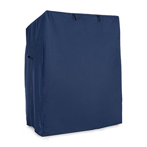 Blumfeldt Hiddensee Strandkorbhaube Schutzhülle Witterungsschutz (115x160x90 cm, 2 Lüftungsfenster, Klettverschlüsse, aufrollbare Frontklappe, Wasserdicht) blau