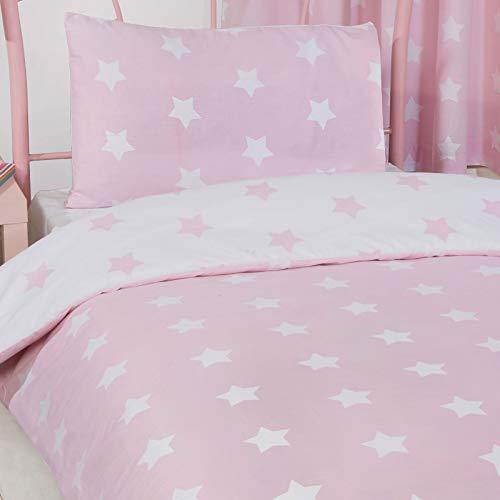 Price Right Home - Juego de funda de edredón y funda de almohada blanco y rosa, diseño de estrellas...
