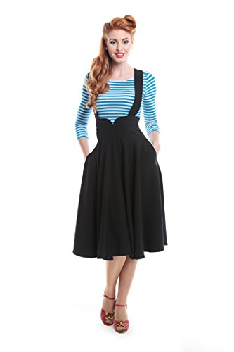 Collectif MARY Vintage High Waisted 50s SWING Skirt Trägerrock Rockabilly Schwarz