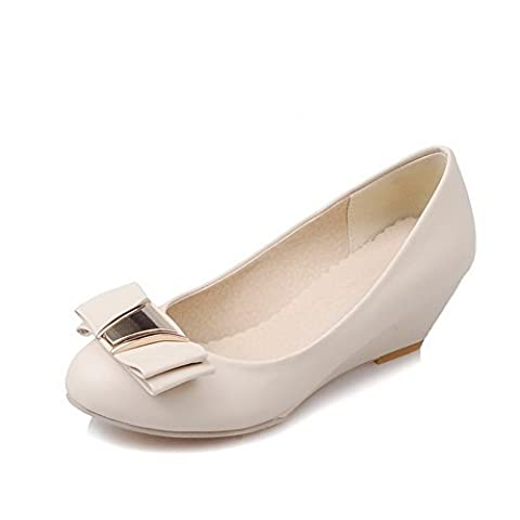BalaMasa Ladies Bows Wedges Low-Cut Uppers Beige Urethane Pumps Shoes - 1 UK