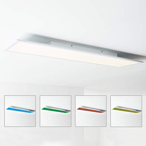 LED Panel Deckenleuchte 120x30cm, RGB Farbwechsel, Fernbedienung, 1x 40W LED integriert, 1x 4000 Lumen, 2700-6500K, Metall/Kunststoff, weiß
