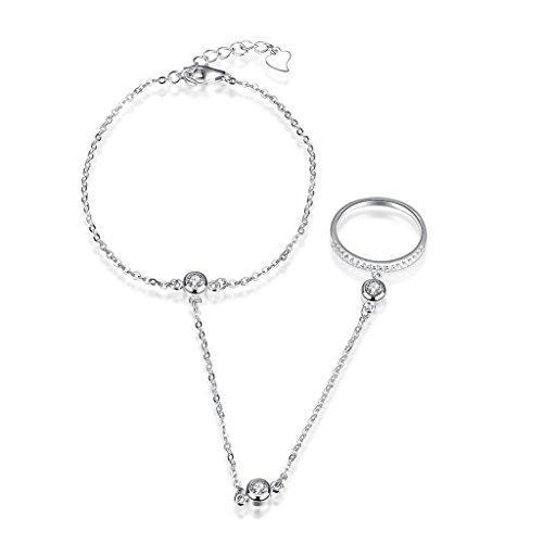 hmilydyk Armband 2-teiliges Set Fashion Damen Sterling Silber Runde CZ Steine Hand Kette Link Finger - Silber-armband-finger-ring