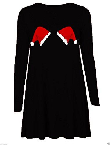 Mode 4 Moins Neuf Femme Grande Taille Manche Longue Noël Swing Robe. ROYAUME-UNI 8-26 Hat Black