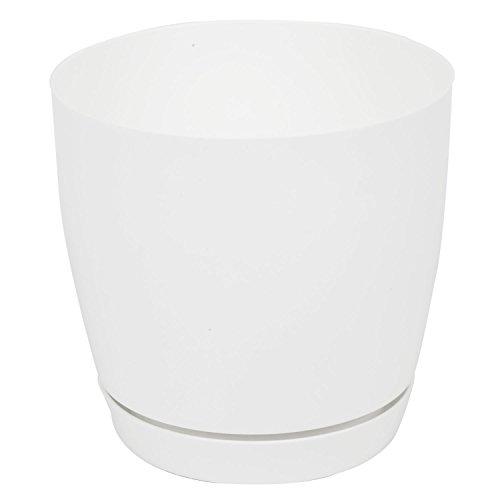 Pot de fleur Toscana en plastique rond 25 cm avec soucoupe, en blanc