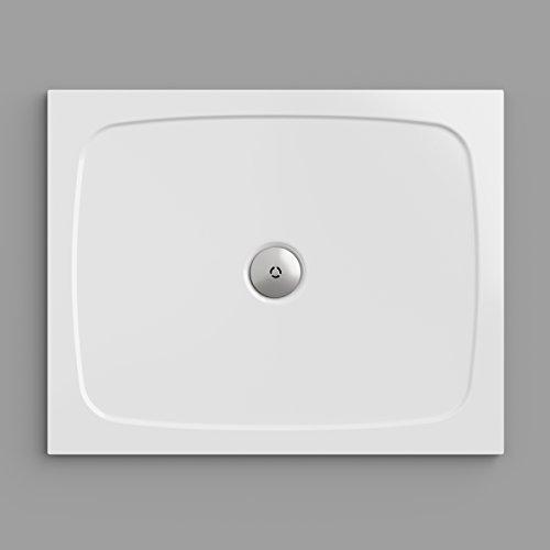 Duschwanne / Duschtasse Nordona® SIMPLEX, rechteckig 80 x 100 cm | Flache Aufbau-Höhe: 3 cm | Kompatibel mit Nordona® VersoFlat Ablauf