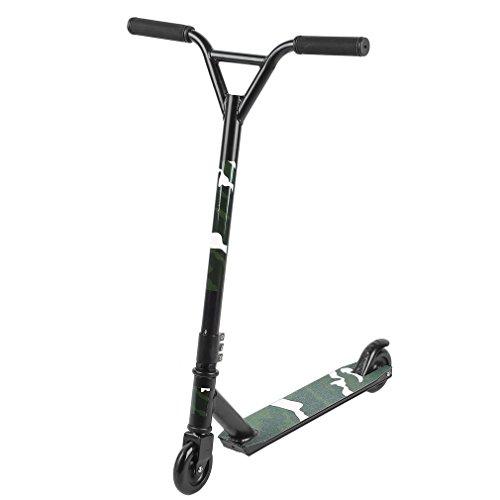 Homgrace Patinete de Trucos y Saltos Giratorio de 360°, robustos con rodamientos ABEC 7, Freestyle Scooter Adultos (Negro)