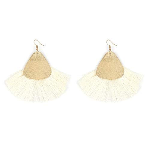Beaulies Earrings Women''s Fan Shaped Tassels Dangle Earrings Boho Long Drop Ear Studs Earrings Jewelry (White) (Silver Earing Hooks)