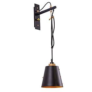 Wandlampe Retro Kabel Enverstellbare, E27 wandleuchte Modern Design Vintage Deckenleuchte Schwarz Metall Schirm Bettlampe Flurlampe für Kinderzimmer Schlafzimme Kü che Esszimmer innen wandbeleuchtung