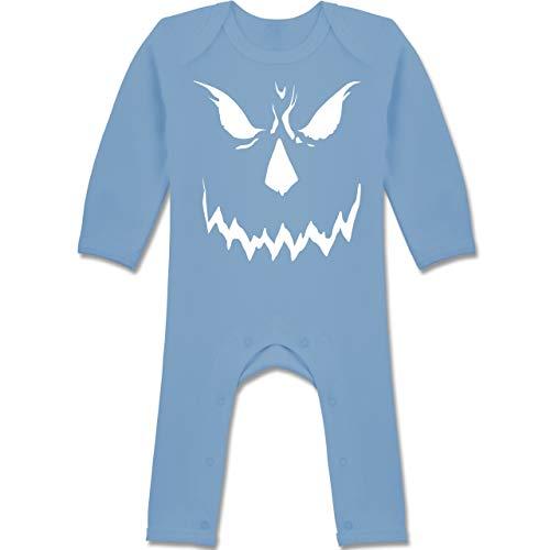 (Shirtracer Anlässe Baby - Scary Smile Halloween Kostüm - 6-12 Monate - Babyblau - BZ13 - Baby-Body Langarm für Jungen und Mädchen)